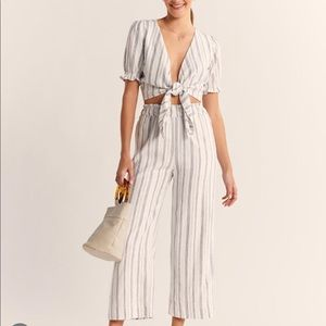 Abercrombie Linen stripe pant